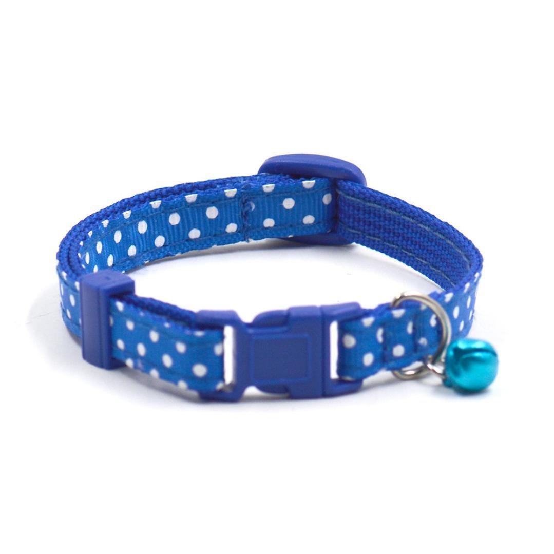 Howstar Dog Collars, Polka Dot Pet Collars For Dog Cat Necklace Adjustable Dog Collar With Bells (Blue)
