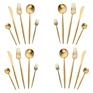 WOAIWO-Q Cutlery Set Stainless Steel,Flatware Set for 4 Person, Kitchen Silverware Cutlery Tableware Dinnerware Anti-rust Rose Gold Utensil Set, Steak Knife Set (Gold)
