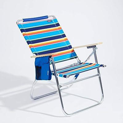 Copa Big Tycoon 4-Position Aluminum Beach Chair, Blue/Orange Stripe: Sports & Outdoors