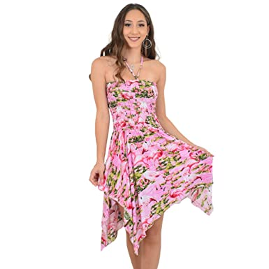 c4a239f5385ed ISLAND STYLE CLOTHING Ladies Pixie Flamingo Dress Zigzag Hem Gypsy Luau  Beach Party (Pink)