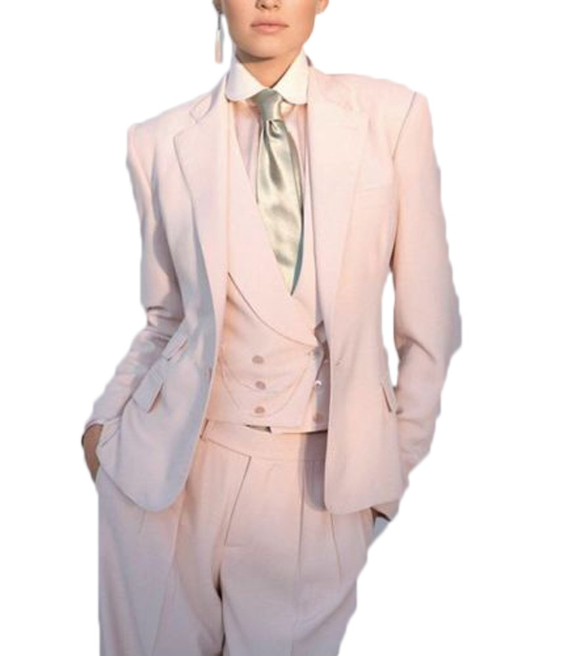 Silver Moonlight Women's Novelty 2 Button White Pant Suit (2XL) by Silver Moonlight (Image #1)