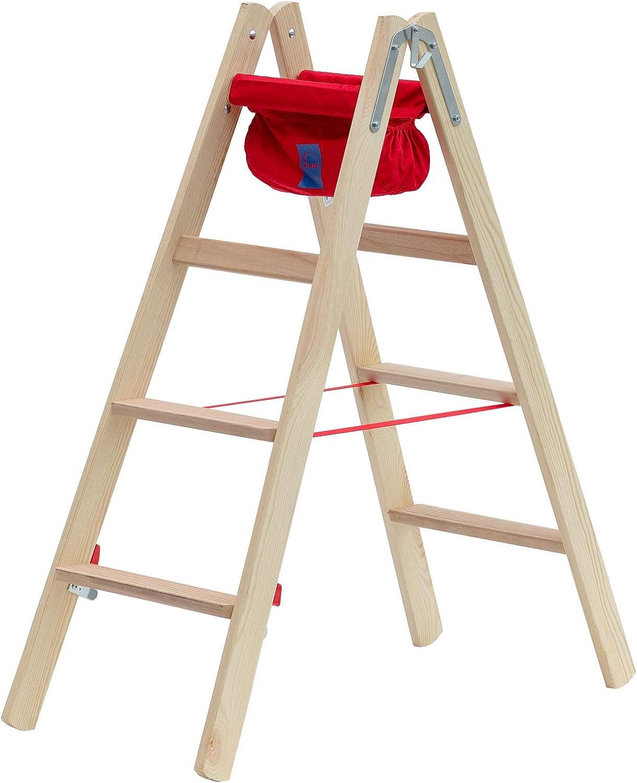 beidseitig begehbar 2x4 Sprossen Arbeitsh/öhe 2,55 m Hymer Holz-Stufenstehleiter 71499
