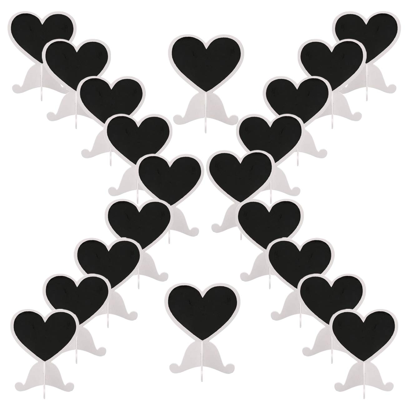 Dedoot Mini Chalkboards Signs with Stand, Pack of 20 Wood Heart Small Chalkboard Place Cards with Easel Stand, Perfect for Daily Home Decoration, Weddings, Party, Table Numbers, Food Signs - White by Dedoot