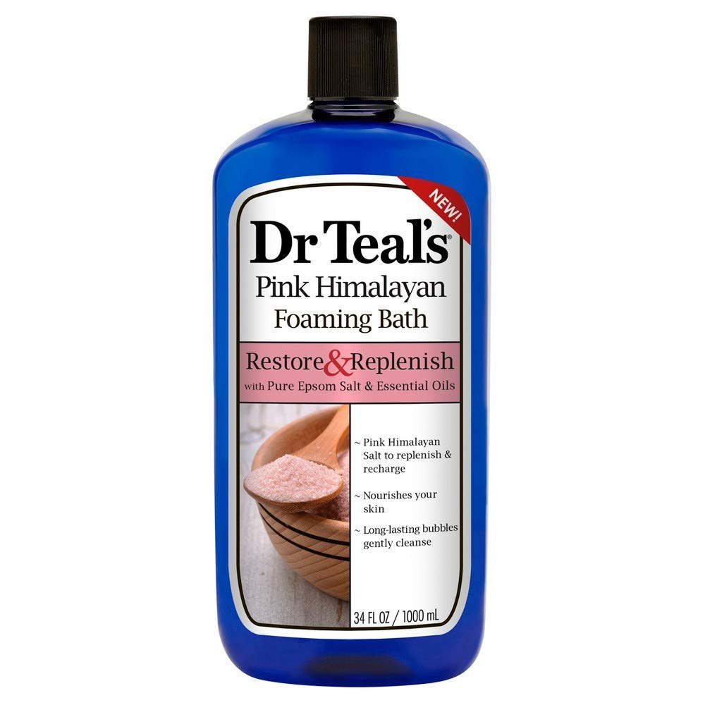 Dr Teal's Restore & Replenish Pure Epsom Salt & Essential Oils Pink Himalayan Foaming Bath 34 oz (Pack of 2) Dr. Teal's : Beauty
