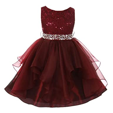 9a9ecd30cf1c Amazon.com  Big Girls Burgundy Lace Crystal Tulle Ruffle Flower Girl ...