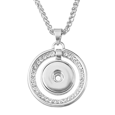23cbe365d60 Image Unavailable. Image not available for. Color: Souarts Silver Tone  Color Clear Rhinestone Round Pendant Necklace ...
