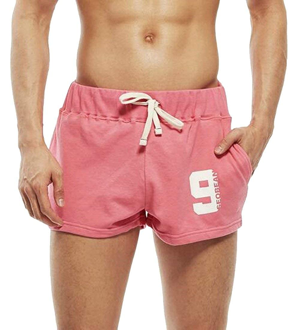 Alion Mens Casual Low Rise Sports Soft Running Training Short Pants Pink S