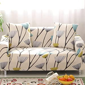 Jaoul All Cover Printed Elegant Floral High Stretch Couch Sofa Slipcover Furniture Protector with Two Pillow Cases