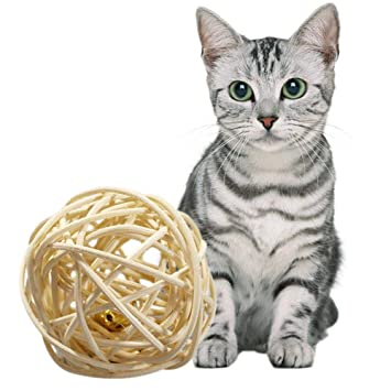 AOLVO Catnip Matatabi - Pelota de Juegos para Gatos, Juguete de Pelota de Juguete Interactivo con Cascabel para Gatos Gatitos y Gatitos: Amazon.es: ...