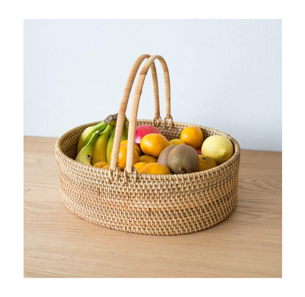ZCYX Fruit Basket Handmade Rattan Fruit Plate Straw Fruit Dish Handle Fruit Tray Storage Compor -80 Fruit basket
