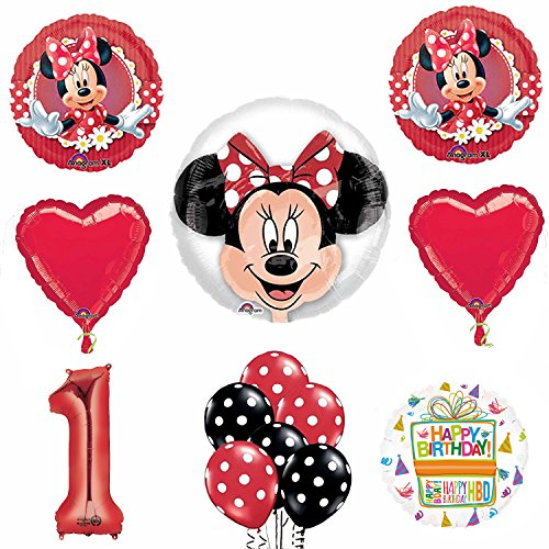Minnie Mouse 1st Birthday Party Supplies and Red Bow 13 pc Balloon Decorations