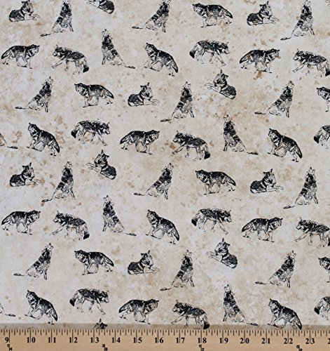 Cotton Marblehead North Woods Wolf Wolves Animal Wildlife Cotton Fabric Print by the Yard (Wolf Fabric)