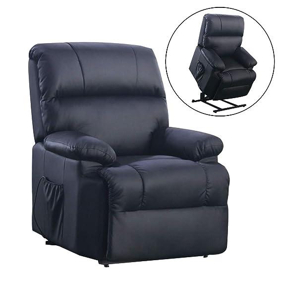 SVITA Massagesessel mit Wärmefunktion und elektrischer Aufstehhilfe - Fernsehsessel Relaxsessel Massagestuhl TV-Sessel - Kuns