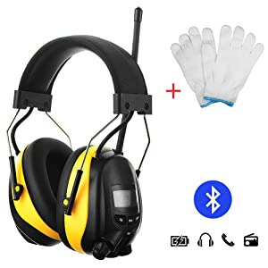 GIMGEM Ear Hearing Protection AM FM Radio Headphones with Bluetooth Technology,1200mAh Large Capacity Rechargeable Lithium Battery,NRR 25dB Noise Reduction Safety Work Ear Muffs,Come with Work Gloves