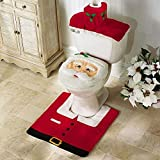 Shopites® 3pcs Christmas Decorations Santa Toilet Seat Cover And Rug Set