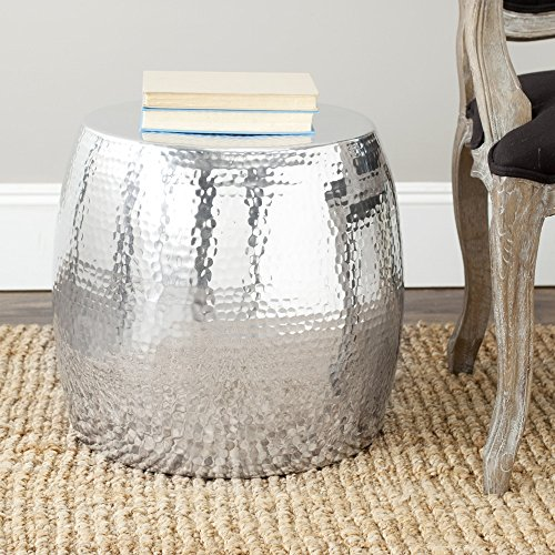 Round Accent Table in Silver (Table Silver Drum)