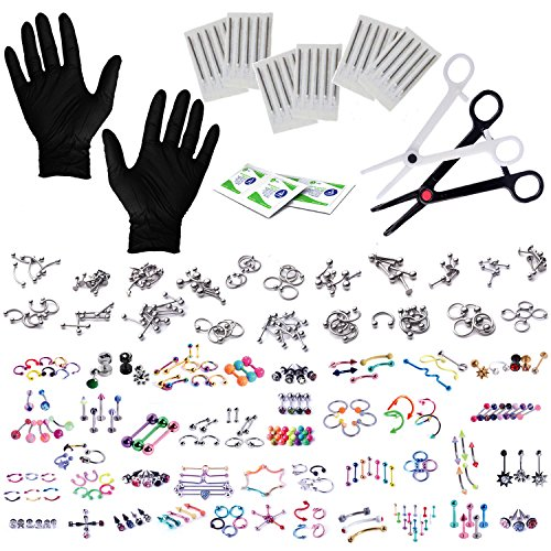 Ring Piercing (BodyJ4You 320PC Body Piercing Kit Lot 14G 16G Belly Ring Labret Tongue Tragus RANDOM Mix Jewelry)