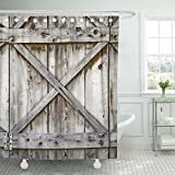 Emvency Fabric Shower Curtain Curtains with Hooks Door Plank Wooden Wall of Old Barn Wood Hinges Architecture Abstract Rustic Shed Metal 72''X78'' Waterproof Decorative Bathroom