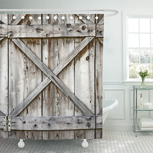 Emvency Fabric Shower Curtain Curtains with Hooks Door Plank Wooden Wall of Old Barn Wood Hinges Architecture Abstract Rustic Shed Metal 60