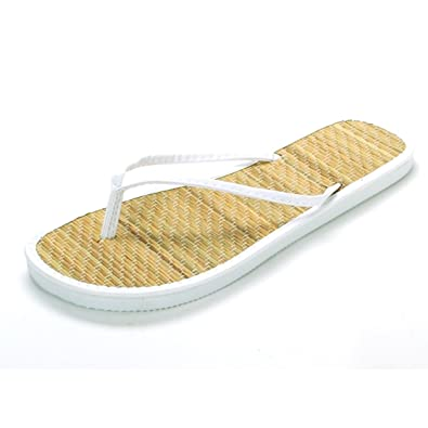 2c2c7fb41 Image Unavailable. Image not available for. Color  LA Beauty Women s White Bamboo  Flip Flops ...