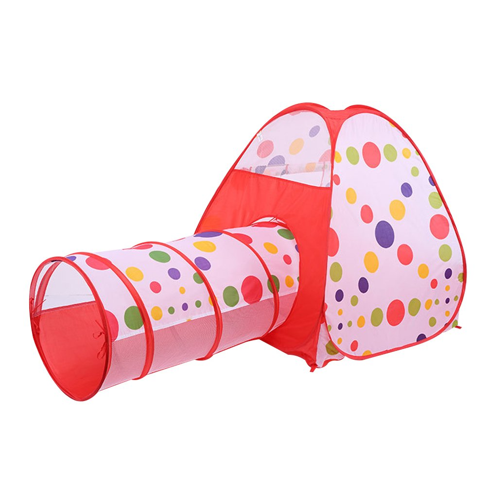 Kids Play Tent House with Tunnel Ball,3 In 1 Pop Up Children Play Tent House with Tunnel and Ball Pit Indoor and Outdoor Game House Toy Easy Fold Ocean Ball Pool Perfect Gift for kids by ADSRO