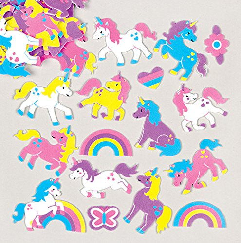 AG781 Baker Ross Rainbow Unicorn Foam Stickers for Children to Decorate and Personalize Arts and Crafts Pack of 120