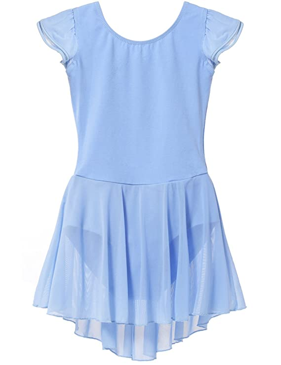 MdnMd Dance Leotard Skirt Flutter Sleeve (Tag 150) - Age 12-14, Blue