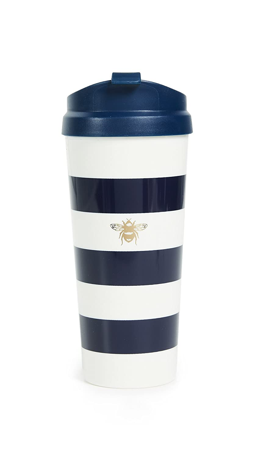 Kate Spade New York Insulated Thermal Travel Mug Tumbler, 16 Ounces, Navy Stripe (Bee)