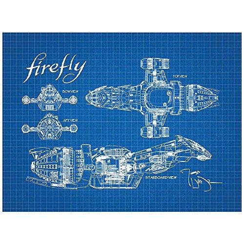 Inked and Screened SP_SYFI_SerenityBP_BG_11_W Sci-Fi and Fantasy Firefly Serenity Blueprint Design Art Poster Silk Screen Print, 8.5