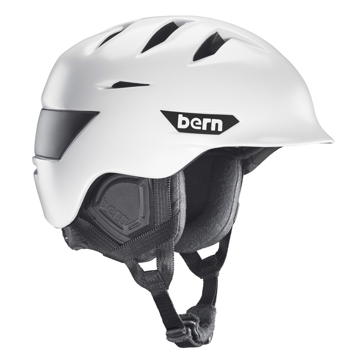 Bern Rollins Snow Helmet Satin White/Black Waxed Canvas Sz L Mens