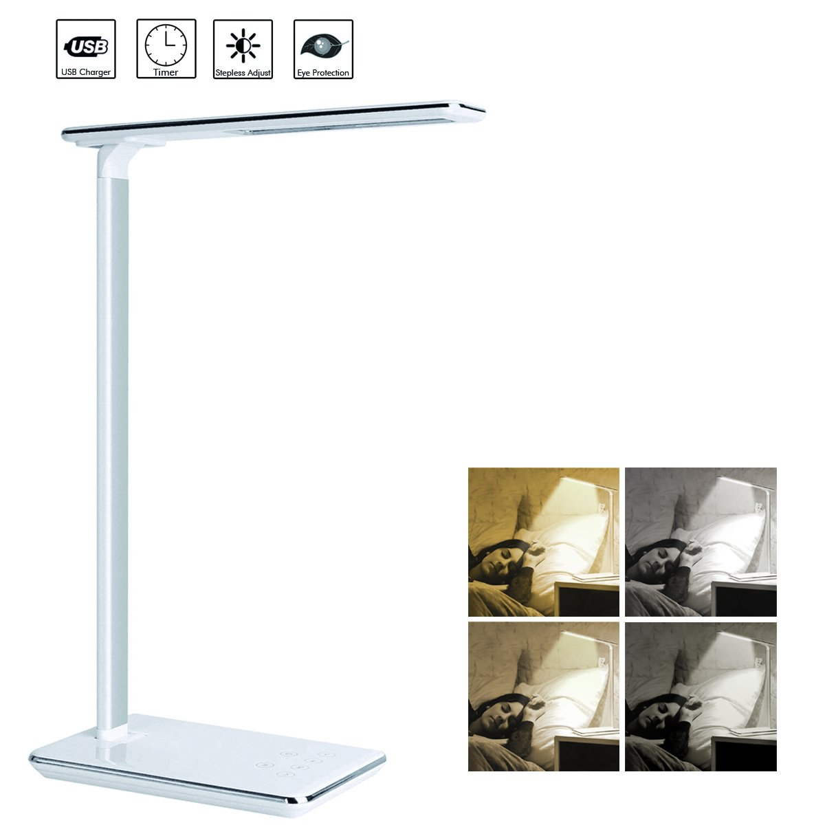 Kimfly LED Desk Lamp, Dimmable Desk Lamp with 4 Lighting Modes, Touch Control Table Lamp, Office Lamp with USB Charging Port, Auto Shut-Off Timer Reading Lamp