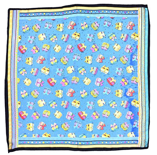Blue Cat Printed Small Fine Pure Silk Square Scarf by Bees Knees Fashion (Image #1)