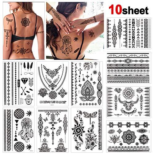 Konsait 10 Sheets Henna Temporary Tattoo Black Art Stickers Lace Mehndi Body Transfers Tattoo for Women Adult Girls, Flash Tattoo for Festival Party
