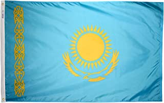 product image for Annin Flagmakers Model 973709 Kazakhstan Flag 3x5 ft. Nylon SolarGuard Nyl-Glo 100% Made in USA to Official United Nations Design Specifications.