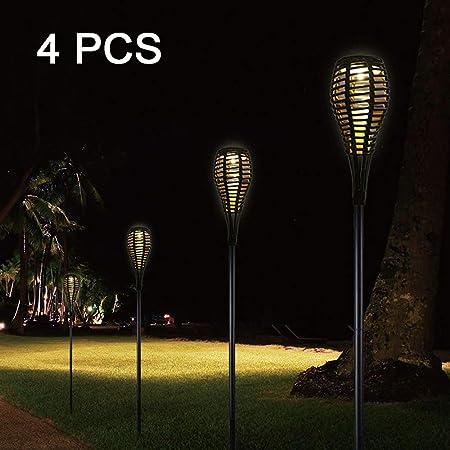 SUNSHIN Juego de faroles solares Luces de Aspecto de ratán Camino al Aire Libre a Prueba de Agua Camino Jardín al Aire Libre Luces solares para Patio, césped, Porche (Paquete de 4):