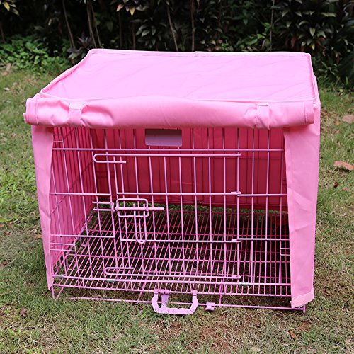 Dog Kennel Cage Covers Windbreak Waterproof Puppy Cat Wire Crate Wear Ventilation Window Open For Pets House (S, Pink) by S-LINE (Image #2)