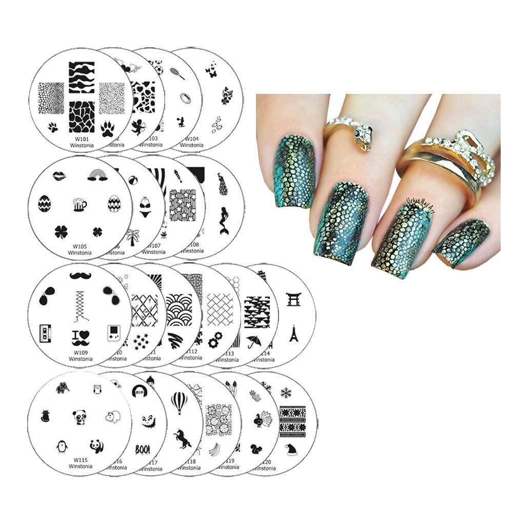 Amazon Com Winstonia 20 Pc Nail Art Stamp Stamping Image Plate Set