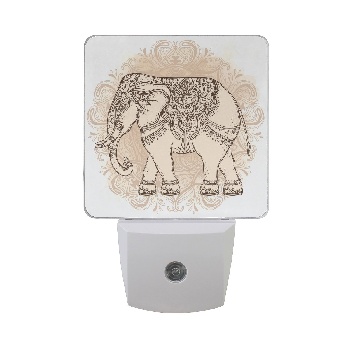 Naanle Set Of 2 Tribal Elephant Mandala Boho Vintage Ethnic Spiritual Art Yoga Indian God Ganesha Thai Symbol Auto Sensor LED Dusk To Dawn Night Light Plug In Indoor for Adults