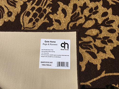 3-feet X 5-feet Non-Skid Rubber Backed Area Rug | BROWN - IVORY FLORAL Modern Rectangle Rugs 3X5 by Qute Home (Image #4)