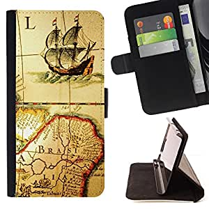 DEVIL CASE - FOR Sony Xperia Z3 D6603 - Ancient Old Map Ship Brazil Continent Sailing - Style PU Leather Case Wallet Flip Stand Flap Closure Cover