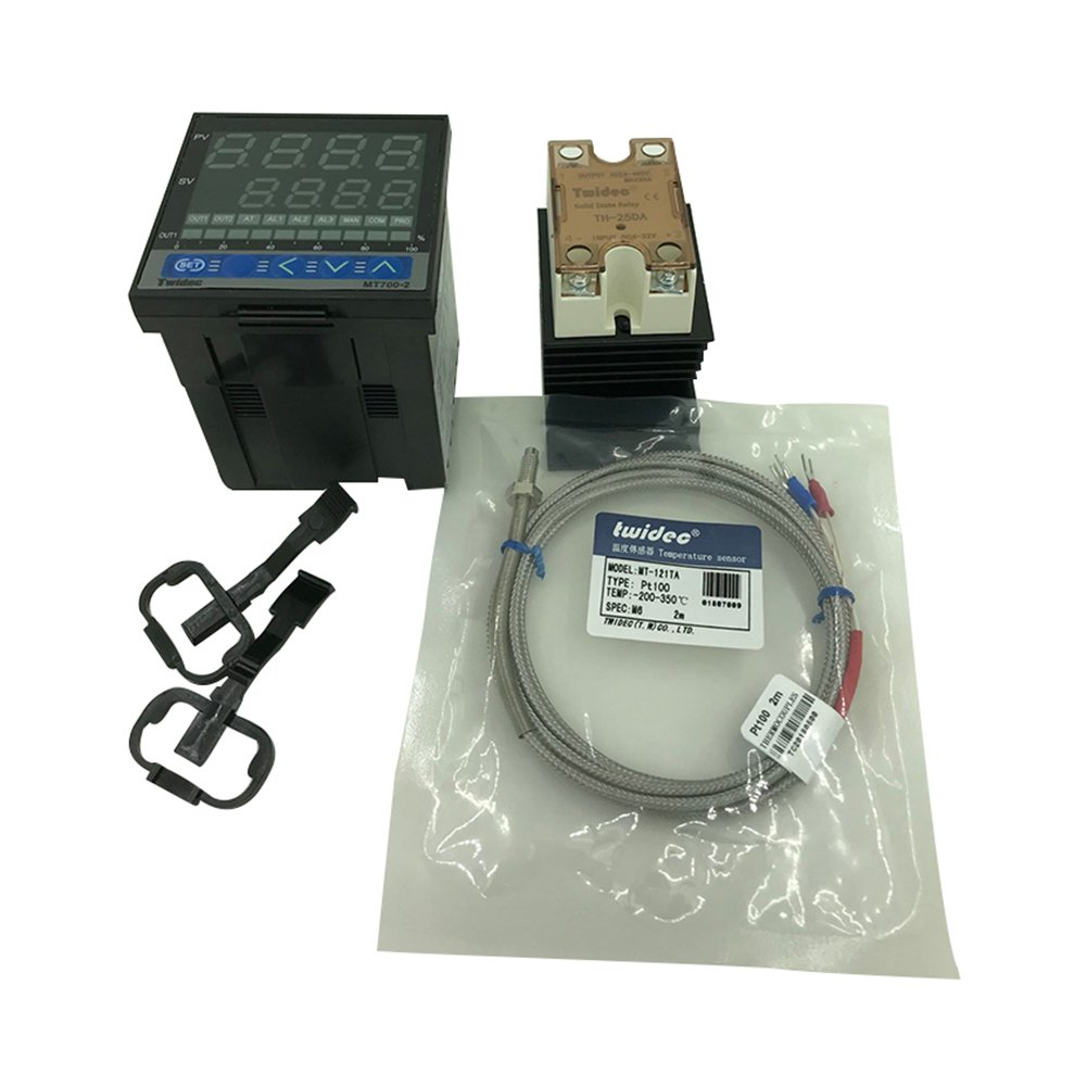 Twidec MT700-2 PID Temperature controller, 90-240VAC, 0-400 °C, Input:PT100, Output: SSR(DC12V);PT100 screw probe, probe lead length 2M(78.74 inches);TH-25DA SSR 25A;Black heat sink