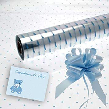 Cellophane gift wrap 2m x 80 cm-Pink Baby Girl FREE PULL BOW /& CARD