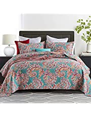 Autumn Dream Cotton Reversible Bedspread Quilt Sets, Striped Bohemian Bedspread and Comforters, Queen Size(3 Pieces)
