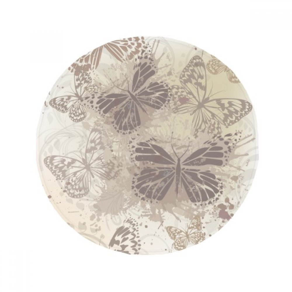 60X60cm DIYthinker Elegant Vintage Grey Butterfly Wallpaper Anti-Slip Floor Pet Mat Round Bathroom Living Room Kitchen Door 60 50Cm Gift