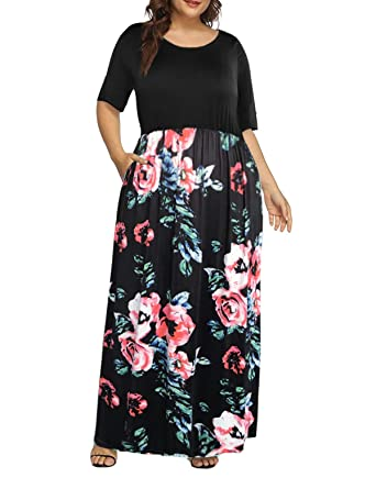 31fb1bddaf2aaf Women's Plus Size Floral Print Maxi Dress Half Sleeve Long Dresses with  Pockets Black 16W