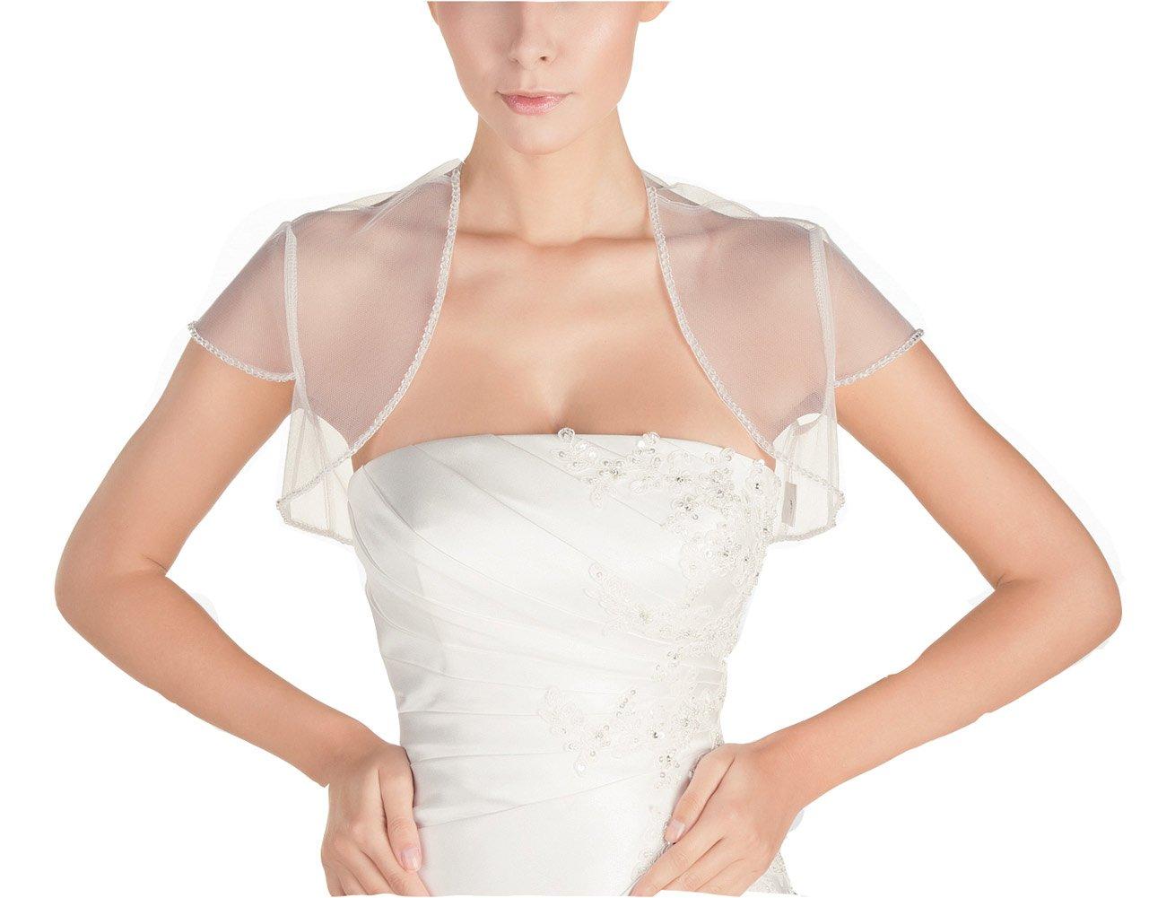GEORGE BRIDE Women's Short Sleeve Length Organza Bridal Jacket (M, Ivory)