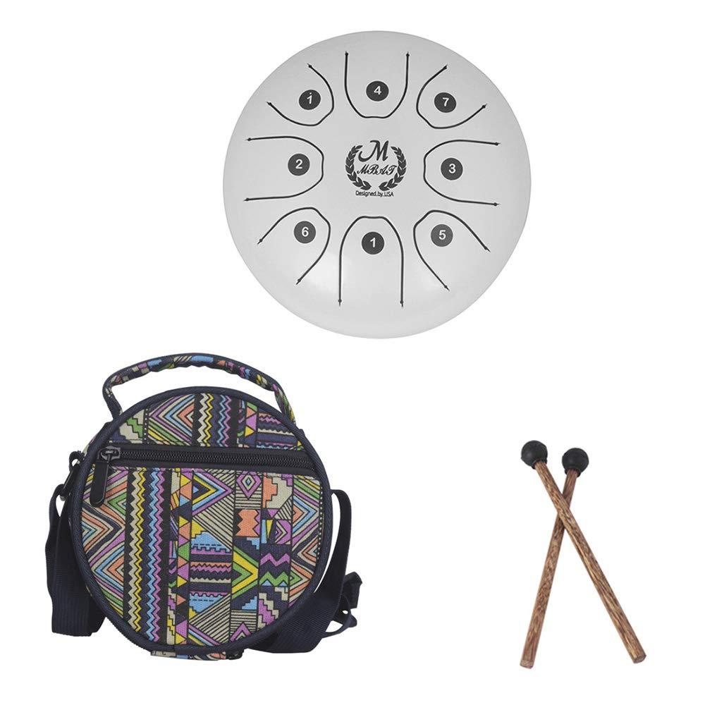 Tambour acier 5,5 pouces mini 8 tons T-C Instrument de percussion à percussion Main tambour avec baguettes de tambour Sac de transport Facile à jouer, instrument de musique, musicothérapie,White