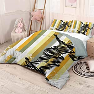 HELLOLEON Youth 3-Pack (1 Duvet Cover and 2 Pillowcases) Bedding Jumping Skateboarder Scribble Sketch Art on Striped Backdrop with Grunge Effects Polyester (Queen) Multicolor