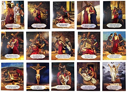 Religious Teaching Tool Stations of the Cross Cardstock Classroom Set of 15, 10 Inch