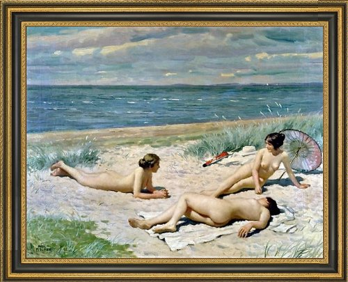 "Paul-Gustave Fischer Bathers on a Beach - 21.5"" x 28.5"" Framed Premium Canvas Print"